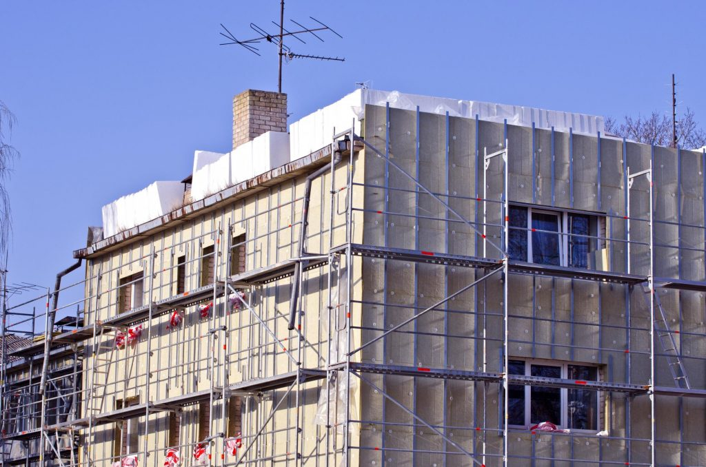 a commercial building with scaffolding